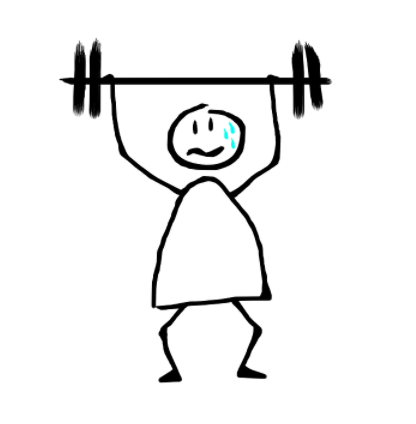 Drawing of boy lifting weight